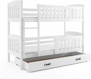 Les enfants de trois lits superposés appropriés pour un matelas 190 * 90, avec des matelas et des matelas en mousse,White
