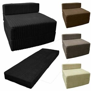 Saphir Jumbo Cordon Z Lit en tissu pliable simple Z Lit simple portable futon pour chambre à coucher, dortoir, canapé, salon, chocolat, Simple