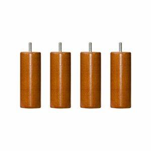 4 Pieds cylindriques Bois merisier 15 cm