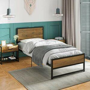 ADORNEVE Cadre de lit Simple avec tête de lit en Bois, Solides Lattes métalliques Cadre de lit avec Espace de Rangement de 28 cm pour Adultes, Enfants, Adolescents (Noir-Brun, 90x200cm)