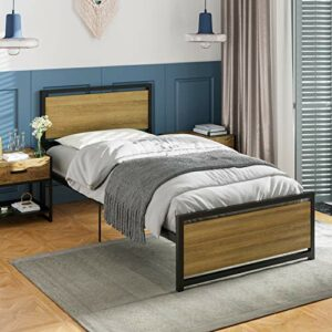 ADORNEVE Lit Simple en métal, Cadre de lit avec Rangement de 28 cm et Solide sommier à Lattes en métal pour Enfants, Adolescents, 90×200 cm, capacité 226 kg, Noir-Brun