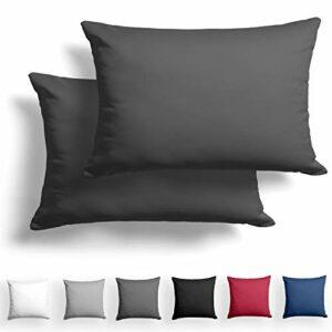 Alreya Mako Satin Taie d'oreiller Lot de 2 100% Coton – 40×60 cm Anthracite – avec Fermeture éclair YKK – Hypoallergénique sans Produits Chimiques