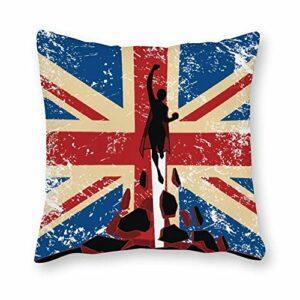 Anyuwerw Housse de coussin décorative Motif drapeau britannique 45,7 x 45,7 cm