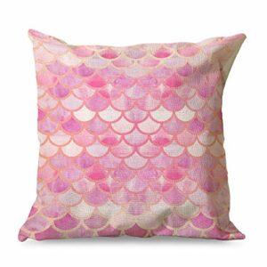 Banniyouall Housse de coussin carrée décorative avec écailles de poisson rose pour décoration de maison, canapé, lit, 45 x 45 cm