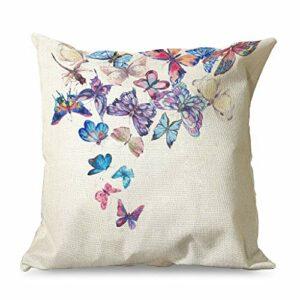 Banniyouall Housse de coussin carrée décorative avec motif papillon pour décoration de Noël – Pour canapé, lit, salon – Blanc – 45 x 45 cm