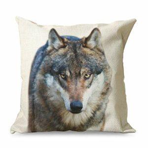 Banniyouall Housse de coussin carrée décorative en forme de loup en colère – Pour canapé, lit – Blanc – 45 x 45 cm