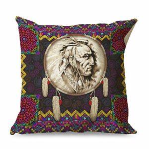 Banniyouall Housse de coussin décorative carrée avec imprimé indien – Pour canapé, lit – Blanc – 45 x 45 cm