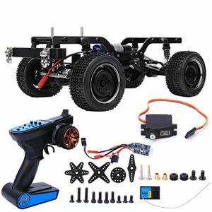 Cadre de voiture RC, châssis de voiture enen faisceau de télécommande télécommande de cadre de voiture Kit de carrosserie de châssis d'accessoire adapté pour le modèle de voitu(Noir MT-MN-90BL)