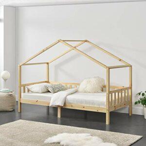 [en.casa] Lit d'enfant Maison avec Barreaux de Sécurité Pin 200 x 90 cm Bois Naturel