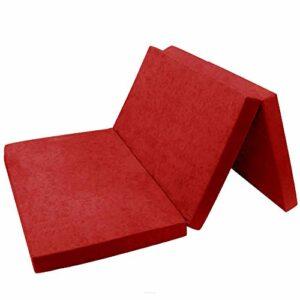 FORTISLINE Matelas d'appoint Pliant 2 Places lit d'appoint lit d'invité futon Pouf 195x120x9 cm Couleur Rouge