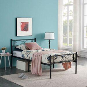 HJhomeheart Cadre de lit en Métal Lit Simple en Métal avec tête de Lit et Lattes, Lit Simple Moderne pour Chambre à Coucher, Chambre d'amis, Adapté pour Matelas 90 x 190 cm, Noir