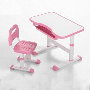 HUSTLE Set Bureau pour Enfant, Ergonomique composé d'un Bureau et d'une Chaise, Hauteur Ajustable, Plaque de Table inclinable : Angle d'Inclinaison réglable Librement, Rose