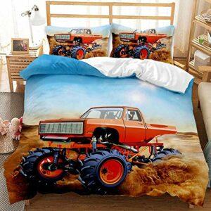LIANHUAA Parure de lit avec housse de couette imprimée Motocross Racing 135 x 200 cm – En microfibre – Avec fermeture éclair et taie d'oreiller pour garçons, filles, enfants (5, simple 135 x 200 cm)