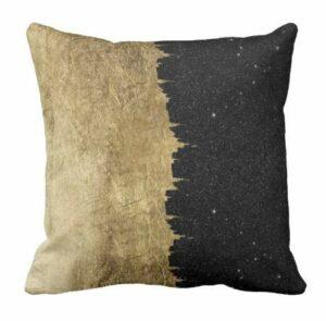 Perfecone Lot de 1 taie d'oreiller pour canapé et voiture Motif nuit étoilée Doré et noir 50 x 50 cm