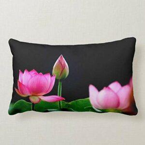 Perfecone Taie d'oreiller de décoration de maison avec motif lotusSofa et taie d'oreiller de voiture 50 x 75 cm