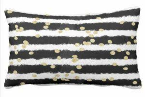 Perfecone Taie d'oreiller moderne à rayures noires aquarelles élégantes dorées pour canapé et voiture 53 x 13 cm