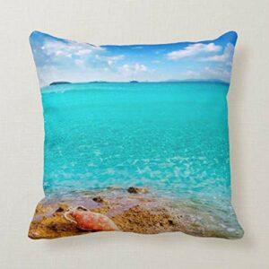 Perfecone Taie d'oreiller pour décoration de maison Motif coquillages de mer et taie d'oreiller 50 x 50 cm