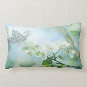 Perfecone Taie d'oreiller pour décoration de maison Motif fleurs et papillons, 1 lot de 50 x 90 cm