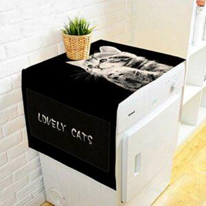 Sasecht dans L'attente d'impression De Chat Réfrigérateur Dust Cover Cover Tissu Écran Solaire Ménager Machine À Laver (Color : 01, Size : 55 * 140cm)
