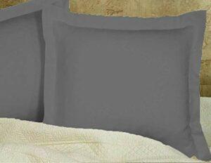 Scala Bedding Lot de 2 taies d'oreiller Ultra Douces en Coton égyptien 600 Fils European 26×26 Gris foncé