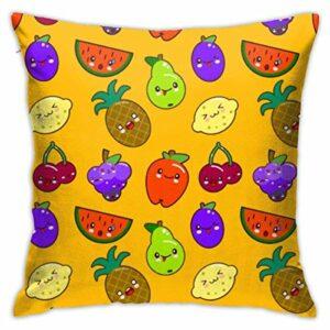 Taie d'oreiller modèle sans Couture coloré Mignon Fruits caractères taie d'oreiller pour Salon canapé Chambre, 18x18in
