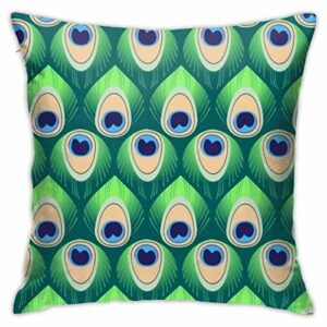Traveler Shop Taie d'oreiller décorative Plumes de Paon Motif sans Couture Housse de Coussin décorative Jeter taies d'oreiller protecteurs, 18x18in