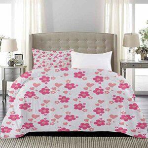 UNOSEKS LANZON Couvre-lit patchwork style marguerites avec grands et petits cœurs romantique printanier Art romantique de luxe hypoallergénique style moderne Rose corail blanc taille standard