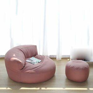 Xin Hai Yuan Pouf en Tissu en Cuir sans Lavage Canapé sans Remplissage Canapé Simple Chaise Repose-Pieds Tabouret Siège De Sol Coin Paresseux Canapé Balcon Tatami Pouf,Rose