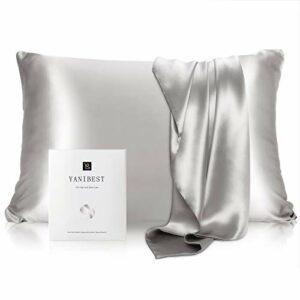 YANIBEST Taie d'oreiller en soie de mûrier 21 mommes 600 fils/cm² 100 % soie de mûrier avec fermeture éclair dissimulée, taille standard