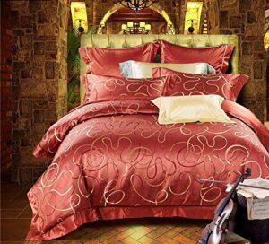YIEBAI, Housses de couette Ensembles de literie Jacquard 4 pièces 100% 26 Momme Pure Long Stranded Mulberry Silk Bedroom Set King Size, red