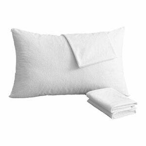 Bedecor Lot de 2 Protège Oreillers 48x74cm avec Zip de Fermeture, Imperméable Doux et Confortable Hypoallergénique Taies d'oreiller, Lavable en Machine, Blanc