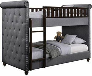 Cadre de lit de chambre à coucher en bois avec boucle avec lit superposé en bois -,Brown