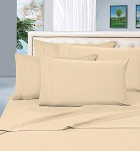 Confort élégant 1500Fils en Coton égyptien de qualité 4pièces Rides Gratuit et résistant à la décoloration Luxueux Ensemble de Drap de lit, Double, crème