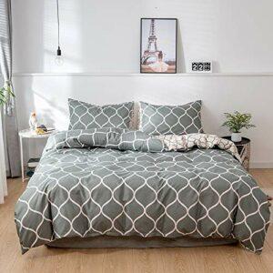 Cupocupa Parure de lit 4 pièces 135 x 200 cm – Motif géométrique gris – En microfibre douce et agréable – Confort de sommeil – Housse de couette et taie d'oreiller 80 x 80 (ON 135 4T)