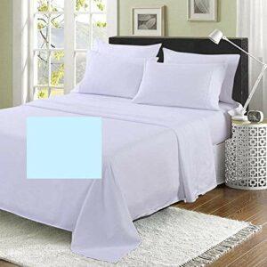 Drap plat super king size de 1,8 m (qualité hôtelière) – 254 x 304,8 cm – 20 couleurs – 200 fils au pouce carré (bleu)
