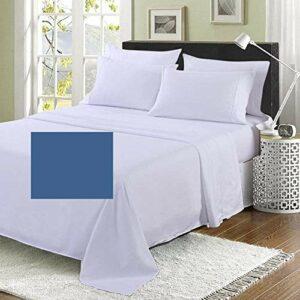 Emperor Drap plat 2,1 m (qualité hôtelière) pour lit (309,9 x 284,5 cm) avec 20 couleurs 200 fils (bleu denim)