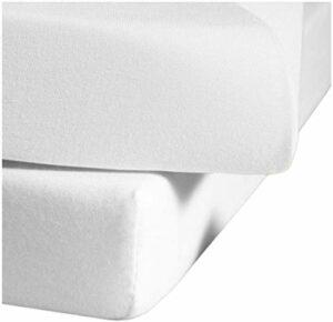 Fleuresse Drap-Housse en Jersey 96% Coton élasthanne Blanc 120 x 200 cm