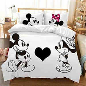 Goplnma – Mickey & Minni Parure de lit Disney Mickey Mouse avec housse de couette et taie d'oreiller – Impression numérique 3D en microfibre – Multicolore (220 × 240 cm, 11)