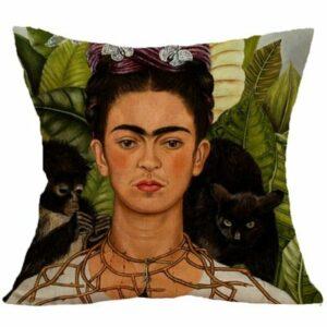Homgomco Vintage Self Portrait Frida Kahlo Coussin Home Decor Taie d'oreiller imprimé Taille Coussin 45* 45cm 45 x 45 cm Black Cat