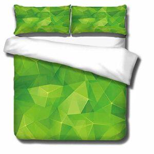 Housse De Couette 140×200 cm Parure de lit en Coton – Vert – avec 1 Fermeture Housse de Couette + 1 Taie d'oreiller Lavable en Machine et Facile d'entretien