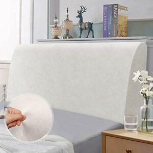 Housse de tête de lit, Housse de Protection élastique pour tête de lit, Protection élastique de Couleur Unie Design Tout Compris, Blanc 150-170 cm