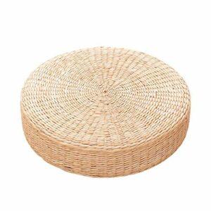 LAMF Coussin de sol en paille japonaise, coussin d'herbe tissée naturelle, 40,6 cm, coussin de sol rond tressé traditionnel, tapis de yoga pour Zen, yoga, méditation