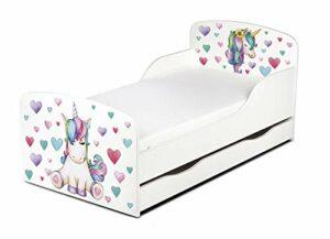 Leomark Blanc Moderne Lit d'enfant Toddler – Unicorn – avec Matelas et Tiroir, Chambre pour Les Enfants, Meubles Confortable Fonctionnel, Lit Simple, Zone de Couchage 70/140 cm