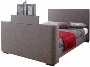 Lit double, lit double ou lit king, lit de télévision en tissu gris électrique, entrepôt de meubles, ces lits vous permettent de cacher vos conseils sur votre pied,Grey