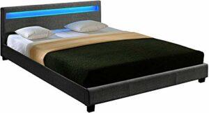 Lit double mat doux Ce lit double élégant sera idéal pour votre chambre à coucher, une base de panneau de polyester avec six couleurs d'éclairage à LED,Dark gray