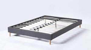 Lit futon Double avec sommier et Pieds Bois, revêtement en Tissu Gris (160_x_200_cm)