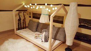 Lit Maison d'enfant en Bois Massif, Naturel Design scandinave, Jeu créatif et s'endormir Seul (200x100cm, sans barreaux)