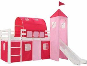 Lit surélevé pour enfants, adapté à la petite fille à la chambre à coucher intérieur intérieur intérieur, échelle avec glissière et lattre,White