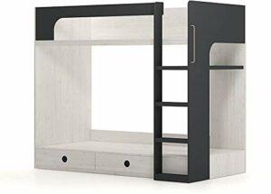 Meubles avec deux tiroirs lits superposés pour murs, expositions, cadres de lit, très propices à toute adolescente, dark gray-The ladder on the right