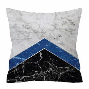 NCONCO Housse de coussin douce et tendance avec imprimé géométrique abstrait effet marbre
